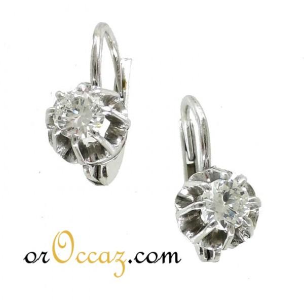 Bijoux D Occasion Oroccaz Paire De Dormeuses Diamants En Or Blanc