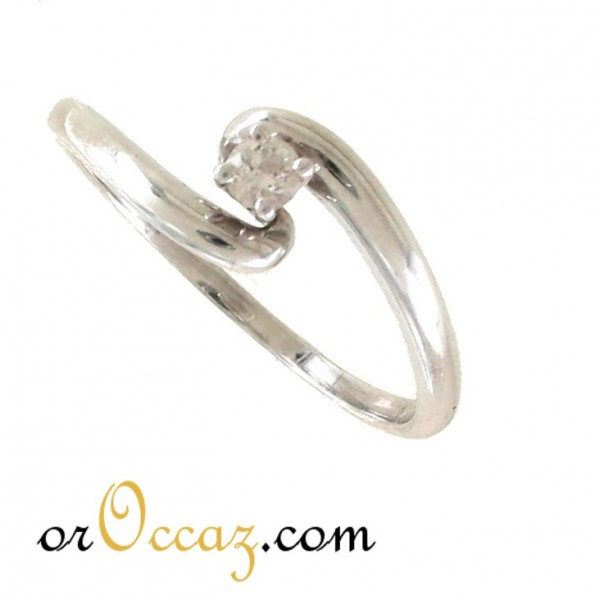Solitaire or blanc diamant