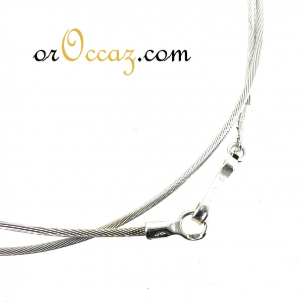 Collier câble en or blanc