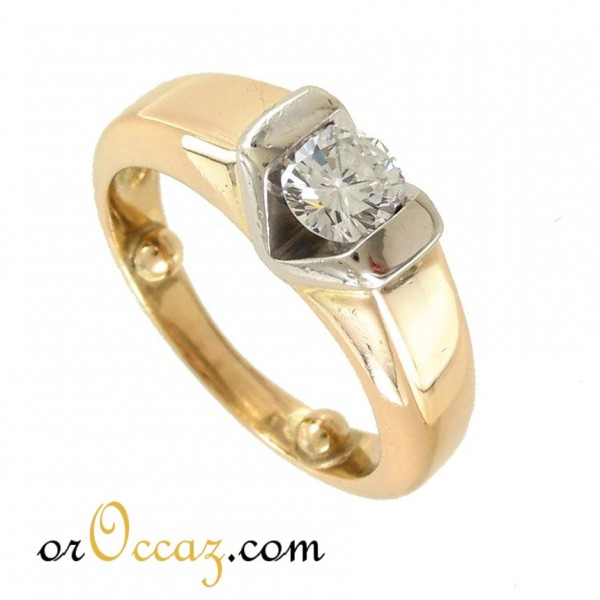 Solitaire diamant bicolore